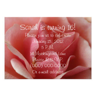 Beautiful Pink Rose Petals 16th Birthday Announcements
