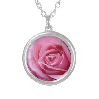 Beautiful pink rose silver plated necklace