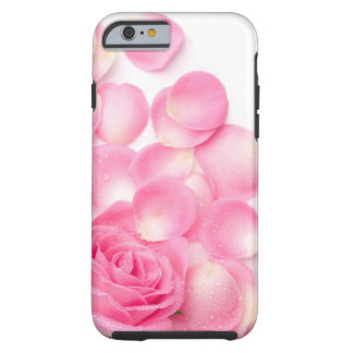 Beautiful Pink Rose with Scattered Petals Tough iPhone 6 Case
