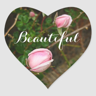 """Beautiful"" Pink Rosebuds Heart Sticker"