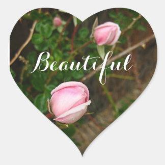 """Beautiful"" Pink Rosebuds Heart Sticker"