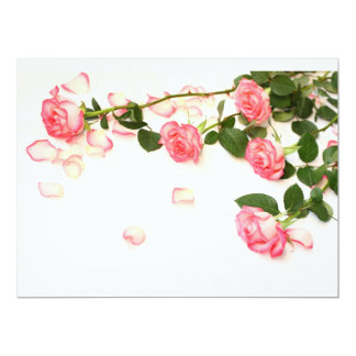 Beautiful pink roses 17 cm x 22 cm invitation card