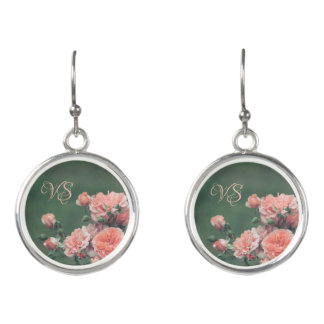 Beautiful pink roses. Add your monogram. Earrings