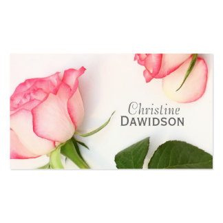 Beautiful pink roses business card template