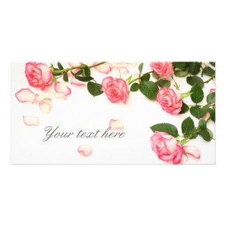 Beautiful pink roses customised photo card