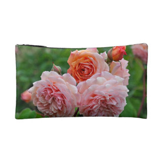 Beautiful pink roses makeup bag
