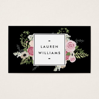 Beautiful Pink Roses Modern Elegance II Business Card