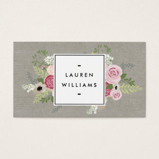 Beautiful Pink Roses on Linen Modern Elegance