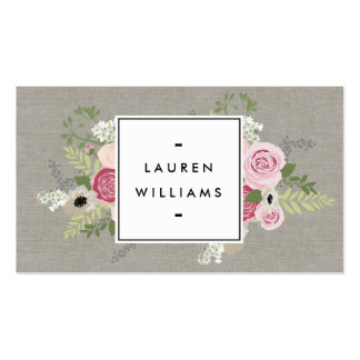 Beautiful Pink Roses on Linen Modern Elegance Pack Of Standard Business Cards