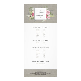 Beautiful Pink Roses on Linen Modern Elegance Rack Card Template