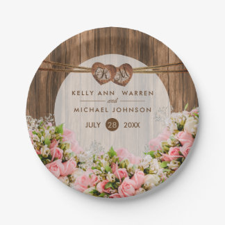 Beautiful Pink Roses on Wood Paper Plate