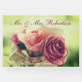 Beautiful Pink Roses Wedding Guest Book