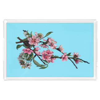 Beautiful Pink Spring Blossom on Blue Acrylic Tray