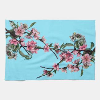 Beautiful Pink Spring Blossom on Blue Tea Towel