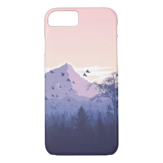 Beautiful Pink Sunset Mountains Trees Nature iPhone 7 Case