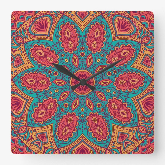 Beautiful Pink Teal Orange Zen Pattern Square Wall
