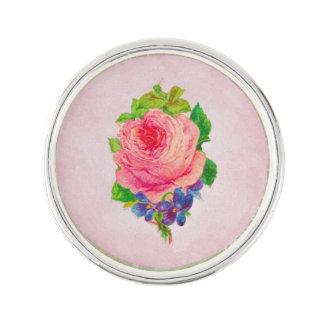 Beautiful Pink Vintage Rose Pretty Violet Sprig Lapel Pin