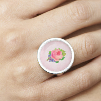 Beautiful Pink Vintage Rose Pretty Violet Sprig Ring