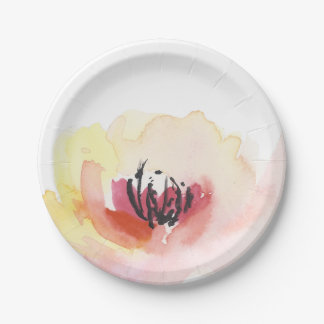Beautiful Pink Watercolor Floral Paper Plate