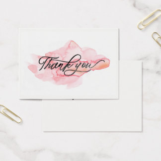 ★ Beautiful Pink Watercolour Thank you Business Card