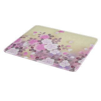 beautiful pink white flowers vector art cutting board