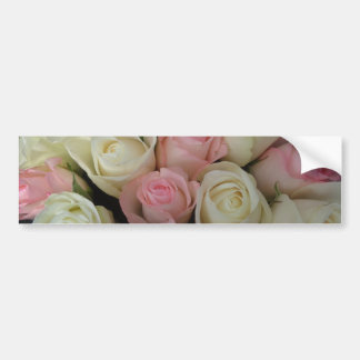 Beautiful Pink White Roses Flower Bouquet Car Bumper Sticker