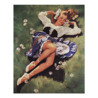 Beautiful Pinup Girl on Spring Meadow Poster