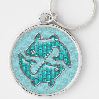 Beautiful Pisces Fish Aquamarine Key Chain