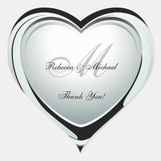 Beautiful Platinum Heart Wedding Thank You Sticker
