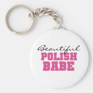 Beautiful Polish Babe Basic Round Button Key Ring