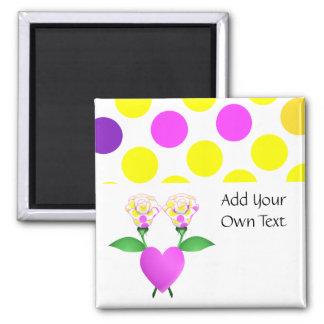 Beautiful Polka Dot Roses Customizable Magnet