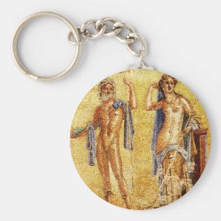 BEAUTIFUL Pompeii Mosaic Basic Round Button Key Ring