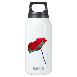 Beautiful poppy art print on white insulated water bottle