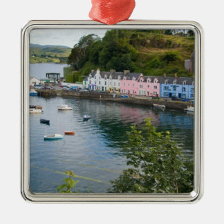 Beautiful port and sailboats with reflections in 2 Silver-Colored square decoration