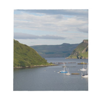 Beautiful port and sailboats with reflections in notepad