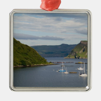 Beautiful port and sailboats with reflections in Silver-Colored square decoration