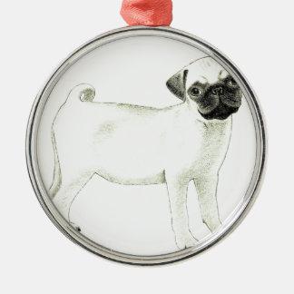 Beautiful Pug Love Dog Drawing Christmas Ornament