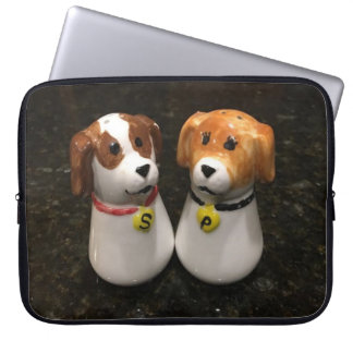 """Beautiful """"Puppy Salt and Pepper Shakers"""" Laptop Sleeve"""