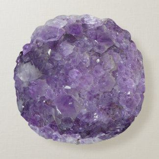 Beautiful Purple Amethyst Healing Crystals Round Cushion