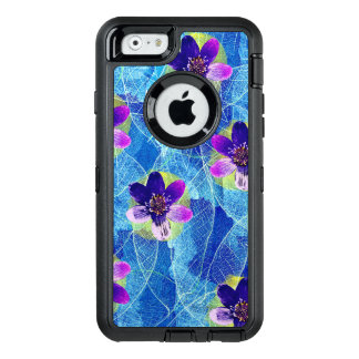 Beautiful Purple and Blue Artistic Floral Pattern OtterBox Defender iPhone Case