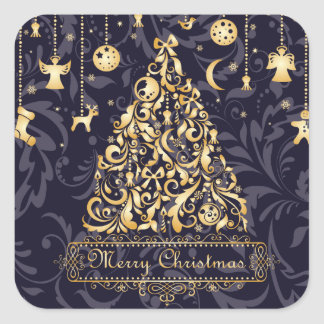Beautiful Purple and Golden Christmas Ornaments Square Sticker