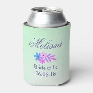 Beautiful Purple and Green Floral bridal shower Can Cooler