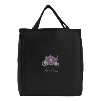 Beautiful Purple And Silver Pumpkin Carriage Canvas Bag