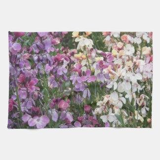 Beautiful Purple and White Flowers Tea Towel