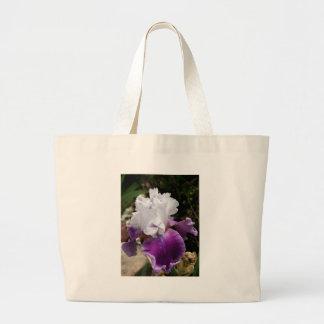 Beautiful Purple and White Iris Design Tote Bags