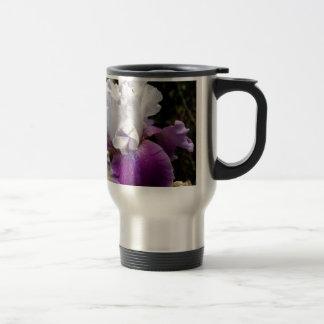 Beautiful Purple and White Iris Design Stainless Steel Travel Mug