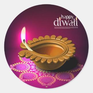 Beautiful Purple Background Diwali Lamp Round Sticker