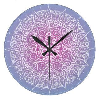 Beautiful Purple/Blue Oriental Design Large Clock