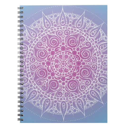 Beautiful Purple/Blue Oriental Design Spiral Notebook