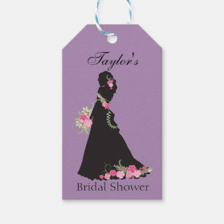 Beautiful Purple Bridal Silhouette Gift Tags